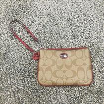 Coach Signature C Wallet Wristlet Brown Red  Photo