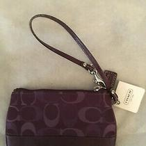 Coach Signature C Wristlet Purse Purple Plum Zip Closure Photo