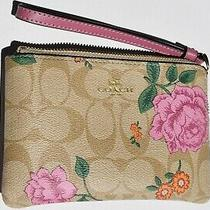 Coach  Signature Canvas Clutch - Floral Daises W/ Roses Photo