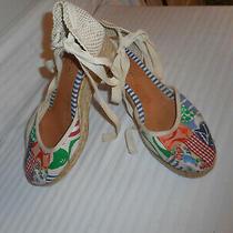 Coach Signature Canvas Jute Platform Wedge Sandals Closed Toe Size 9b Photo