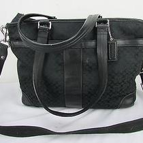 Coach Signature Canvas Leather Diaper Tote Shoulder Bag Black F77156 Photo