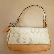 Coach Signature Canvas Leather Trim Small Wristlet Handbag Purse Green Beige  Photo
