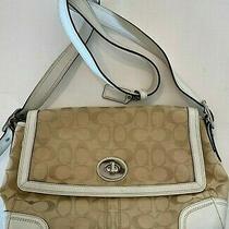 Coach Signature Canvas Tan White Leather F13972 Shoulder Bag Purse Vgc Photo