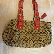 Coach Signature Canvas Tote With Braided Leather Handles Photo