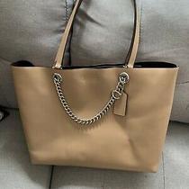 Coach Signature Chain Convertible Leather Tote Handbag Photo