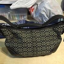 Coach Signature Classic Black Leather Hobo Bag Handbag Purse Gray Photo