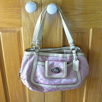 Coach Signature Cricket 14934 Bag Purse Satchel Pink Cream Silver 328 Free Ship Photo