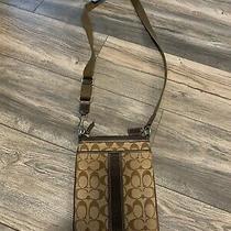 Coach Signature Cross Body Messenger Handbag Purse- Brown/tan Photo