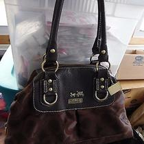 Coach Signature Dark Brown Sateen Cloth Tote/satchel/pocketbookmo41kgood Used Photo