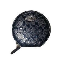 Coach Signature Debossed Patent Leather Round Zip Coin Case Photo