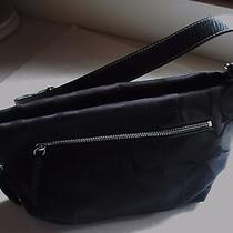 Coach Signature Duffle Shoulder Handbag Black on Black Photo