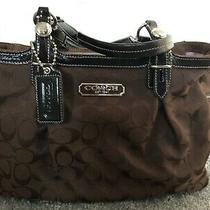 Coach Signature East West Gallery Tote Purse - Brown C Fabric Brown Leather Photo