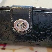 Coach Signature Embossed Black Pattend Leather Wallet Photo
