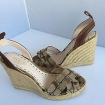 Coach  Signature Espadrille Wedge Heels Ankle Strap Sandals Size 8 Photo