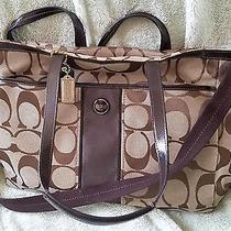 Coach Signature F21865 Khaki Brown Stripe Multifunction Diaper Baby Bag Tote Photo