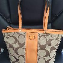 Coach Signature F21950 Tote Bag/ Shoulder Bag. Khaki/ Orange Stripe Photo