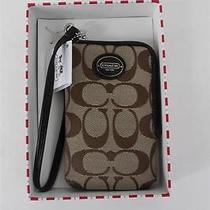 Coach Signature Fabric Leather Universal Case Wristlet Khaki Mahogany Nwt Photo