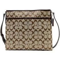 Coach Signature File Bag Light Khaki Mahogany Fabric Cross Body Purse Nwt 36378 Photo