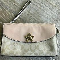 Coach Signature Flap Clutch Wristlet Wallet Flower Khaki Burgundy Exotic Trim Photo