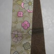 Coach Signature  Floral Applique Ponytail Scarf 97547 Nwt Pink Brown Photo