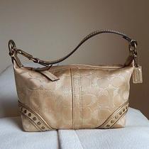 Coach Signature Gold Fabric & Leather Top Handle Pouch Small Purse - Rare Cute Photo