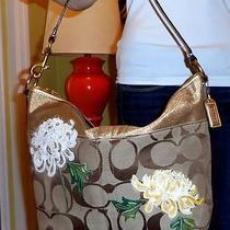Coach Signature Handbag Khaki W Gold Leather Trim & Flowers Original 480 Photo