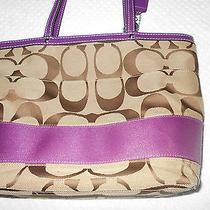 Coach Signature Handbag & Matching Wallet - Purple & Tan Photo
