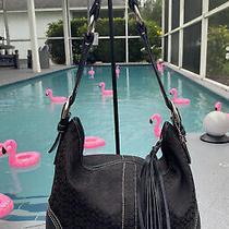Coach Signature Handbag Shoulder Bag Hobo Purse Canvas Leather Black 2158 Tote Photo