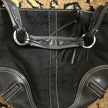 Coach Signature Handbag Shoulder Bag Hobo Purse Canvas Leather Black G052-2158 Photo