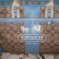 Coach Signature Heritage Blue Stripe Diaper Bag X-Large Travel Hobo Bag Purse  Photo