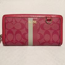 Coach Signature Heritage Stripe Magenta Accordian Zip-Around Wallet 42380 Photo