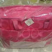 Coach Signature Hot Pink Nylon Diaper Baby Multifunction Xl Tote F77577 Photo