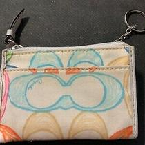 Coach Signature Id Credit Card Coin Holder With Key Ring Free Shipping Photo