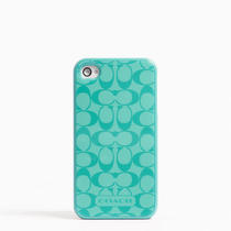 Coach Signature Iphone Case 4 Style F65337 Aqua Photo