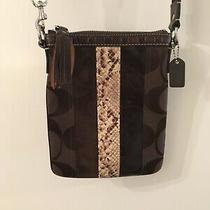 Coach Signature Jacquard Brown Bag Crossbody Messenger Bag W/ Stripe Photo