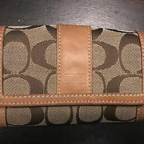 Coach Signature Jacquard C Leather Trim Trifold Small Clutch Wallet Brown Photo