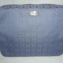 Coach Signature Jacquard Full Zip Padded Periwinkle Blue Laptop Carrying Case Photo