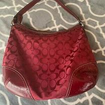 Coach Signature Jacquard Red Canvas & Leather Shoulder Hobo Purse Bag Photo