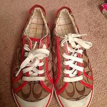 Coach Signature Jacquard Red Patent Leather Preppy Sneakers Flats Photo