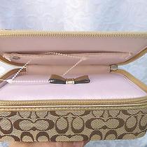Coach Signature Jacquard Travel Jewelry Box Zipper  98 New  Photo