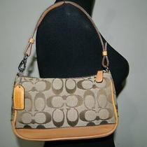 Coach Signature Jacquard Vachetta Leather Demi Pouch Wristlet Handbag Purse Photo