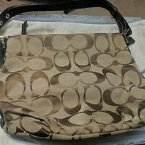 Coach Signature Khaki Brown Duffle Shoulder Bag Handbag F15067 Leather Clean Photo