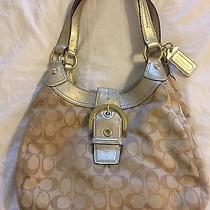 Coach Signature Khaki Gold Hobo Shoulder Handbag Photo