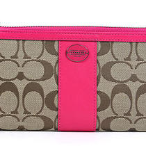 Coach Signature Khaki Magenta Zippy Wallet Clutch Money Wristlet New Photo
