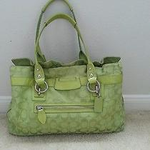 Coach Signature Large Satchel Beautiful Green  Photo