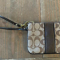 Coach Signature Leather Corner Zip Wristlet Photo