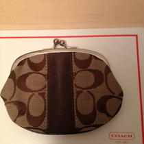 Coach Signature Logo Brown Canvas Twistlock Coin Purse Photo