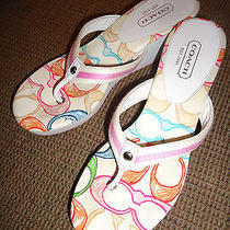 Coach Signature Logo Felicite Multi-Colored Wedge Sandals Us Size 9m High Heel  Photo