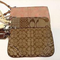 Coach Signature Lot of 3 Wristlet Wallet Clutch Purse Pink Jacquard Browns Photo