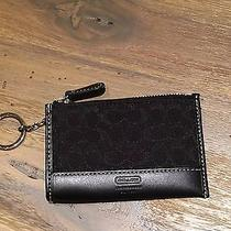 Coach Signature Lurex Black Mini Wallet Skinny Key Ring Chain Coin Euc Photo